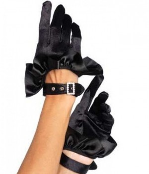 Cropped Black Satin Half Glove