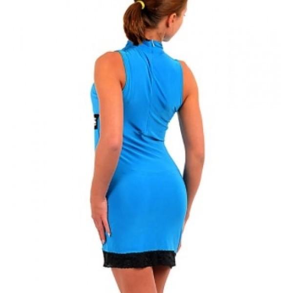 Mock Neck V Neck Studded Lace Trim Sexy Dress