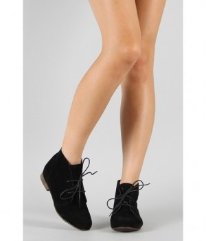 Breckelle Sandy-61 Lace Up Flat Ankle Bootie