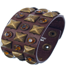 Brown Rock Star Studded Bracelet