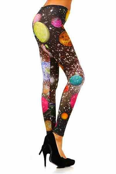 Galaxy Planets Print Leggings