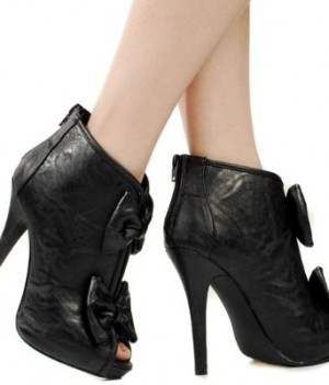 Holiday Tuxedo Bow Ankle Boots Black