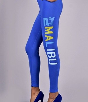 Letter Print Full Lenght Leggings Blue