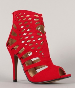 Liliana Anya-8 Suede Caged Cut Out Stiletto Heels