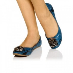 Liliana Yumi Jeweled Ballet Flats Blue