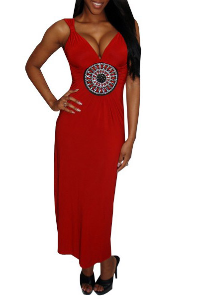 Long Red Sexy V-neck Maxi Dress
