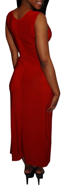 Long Red Sexy V-neck Maxi Dress With Stone Embellished Front Maxi Dress