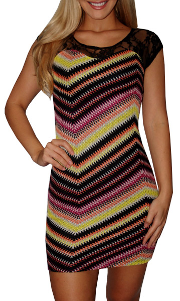 Multicolor Chevron Print Dress