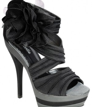 c44e938f6db Peony 99 Satin Faux Leather Platform Heels Floral Decor Pleated Black