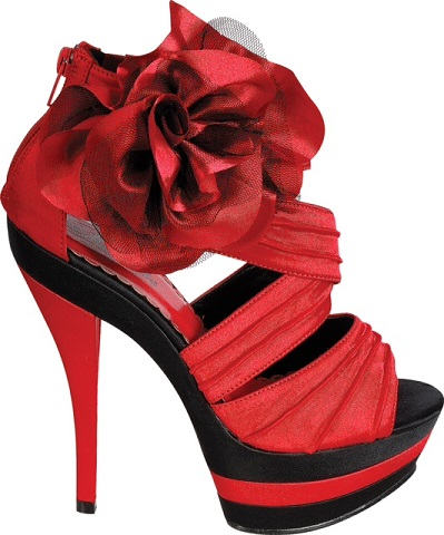 Peony 99 Satin Faux Leather Red Floral Decor High Heels Pleated Red