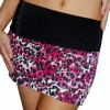 Pink Black Cute Floral Folded Tiered mini Skirt