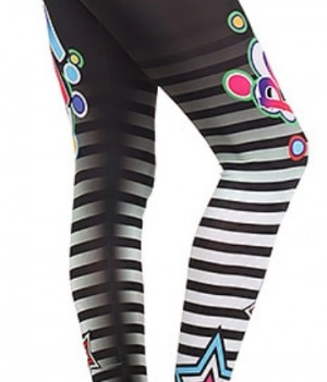 Pow Striped Star Leggings