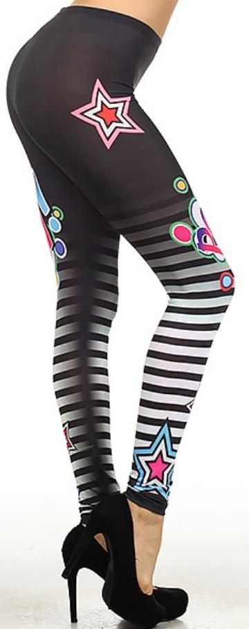 Pow Striped Star-Leggings