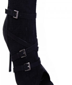 Qupid Demand-171 Strappy Lace Bootie Black