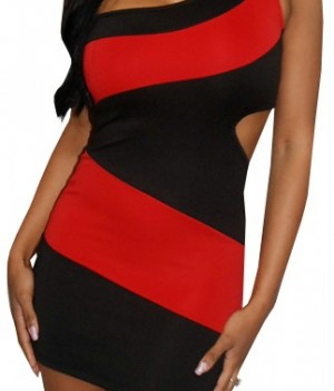 Red Black One Shoulder Cut Out Side Dress