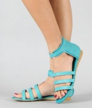 Sarah69 Stingray Strappy Gladiator Flat Sandals Teal