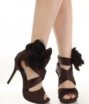 Satin Faux Leather Floral Decor Pleated Brown Heels