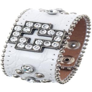 Rhinestone cross ornament croco print wrist band