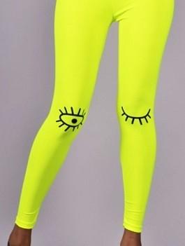 Winking Print Neon Leggings
