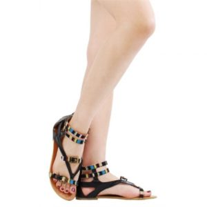 Ava06 Tribal Gladiator Flat Sandals Black