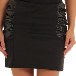 Black Sexy Shirred Hipster Black Mini Skirt