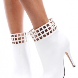 Common-12 caged leatherette white booties