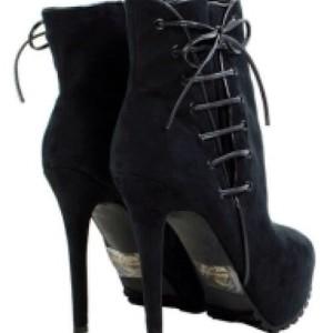 Liliana Kailani1 Corset Side Hidden Platform Ankle Booties Black