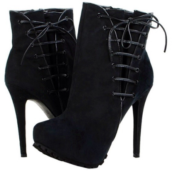 Liliana Kailani1 Corset Side Hidden Platform Ankle Booties Black