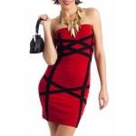 Red Black Cross Bandage Strapple Dress