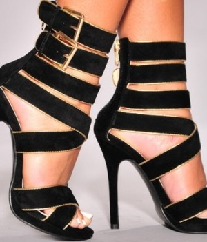 Black Gold Trim Strappy High Heels Sandals