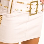 White Gold Belted Metallic Slasher Micro Mini Skirt