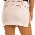 White Gold Belted Metallic Slasher Micro Mini Skirt