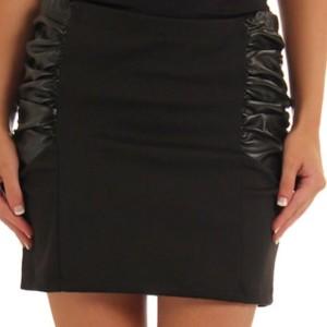 Black Sexy Shirred Hipster Black Mini Skirt