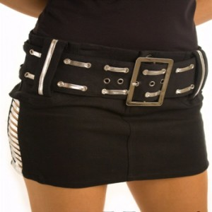Silver Belted Metallic Slasher Micro Mini Skirt