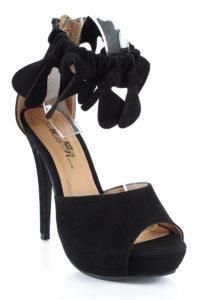 Black Cuff Peep Toe Sandals