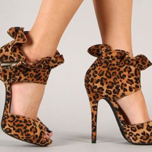 Lenora-13 Ruffled Collar Peep Toe Heels Faux Suede Leopard Heels
