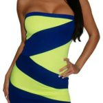 Neon Yellow Blue Strapless Sexy Mini Dress