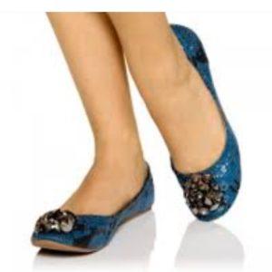 Liliana Yumi Jeweled Ballet Flats Blue