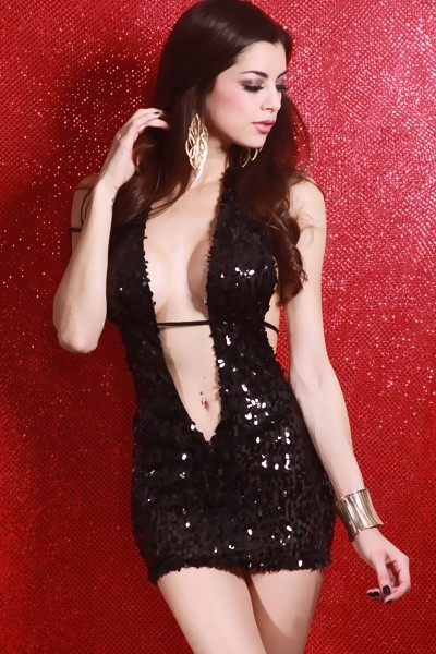 Sexy Lingerie Deep-V Sequin Halter Mini Dress Black