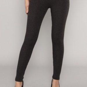 Grey Ribbed Knit Leggings