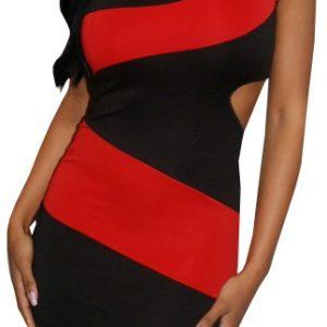 Red Black One Shoulder Cut Out Side Dress