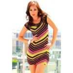 Multicolor Chevron Print Dress