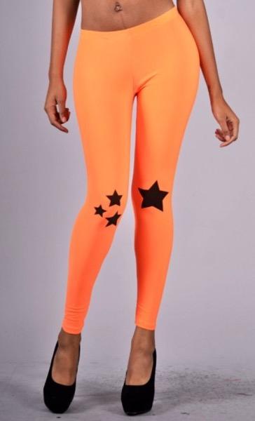 Star Print Neon Leggings