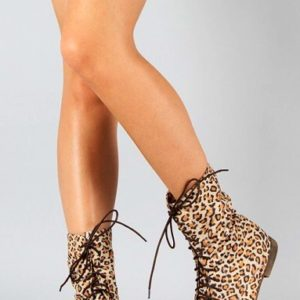Breckelle Sandy-72 Lace Up Ankle Bootie Leopard
