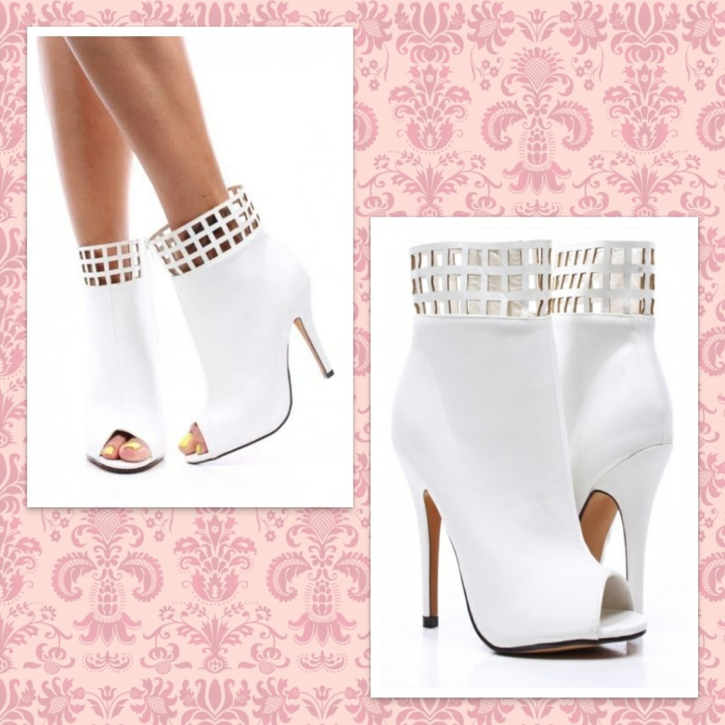 White Open Toe Bootie