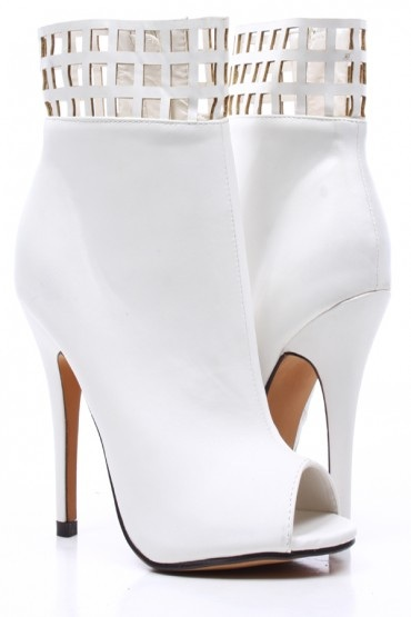White Open Side Booties