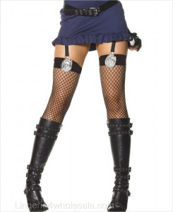 Industrial Net Police Badge Thigh Highs