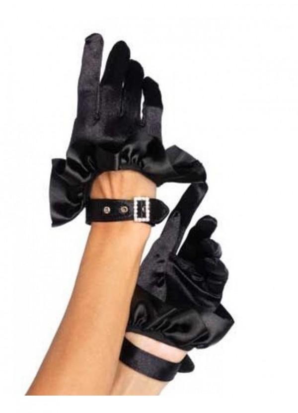 Cropped Black Satin Half Glove