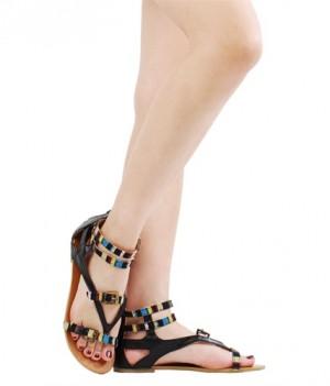 Ava06 Tribal Gladiator Flat Sandals Black