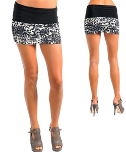 Black Cute Floral Folded Tiered mini Skirt